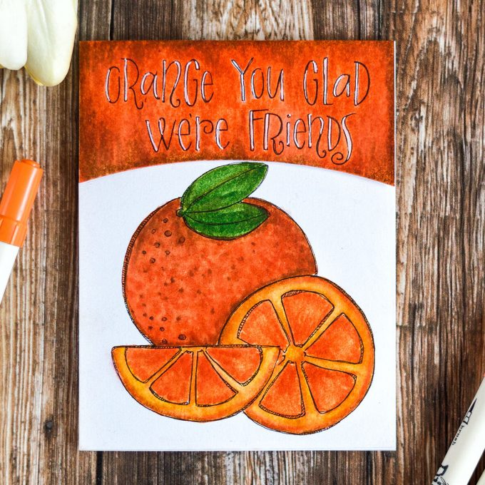Simon Says Stamp Suzy's Fruit Puns Watercolor Paintable Prints colored with Distress Markers. Cards by @craftwalks.