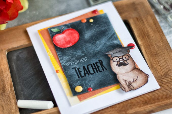 Teacher appreciation card using Studio Katia Kobi bear stamp. Card by @craftwalks