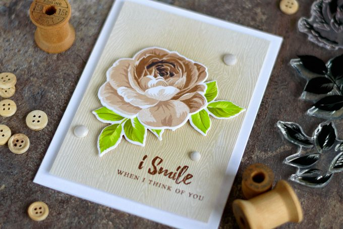 Extremely beautiful Altenew Build-A-Flower: Rose in brown and olive. on woodgrain background. Card by @craftwalks