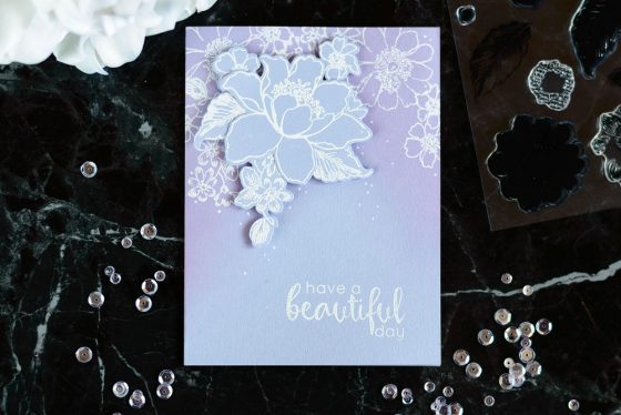 Create a cool monochromatic card using heat embossing and a few added supplies. With Altenew Garden Treasure. Card by @craftwalks