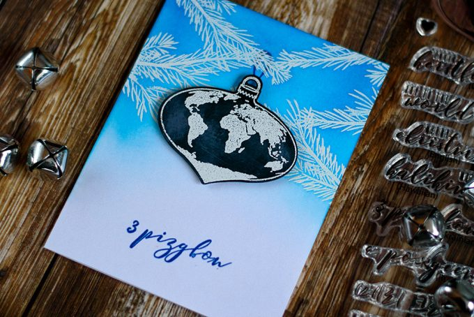 Christmas card with chalkboard Earth ornament. With Altenew Peace On Earth. Card by @craftwalks.