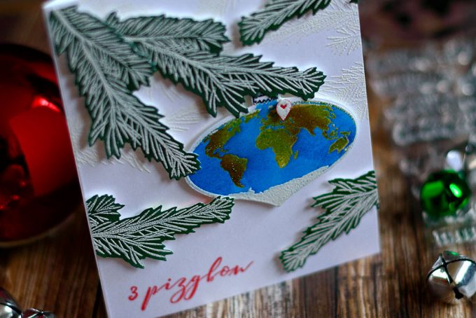 Christmas card with Earth ornament. With Altenew Peace On Earth. Card by @craftwalks.