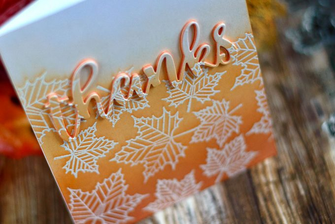 Create a quick an elegant fall cards using white embossing and ombre ink blending. Altenew With Gratitude Stamp Set. Card by @craftwalks