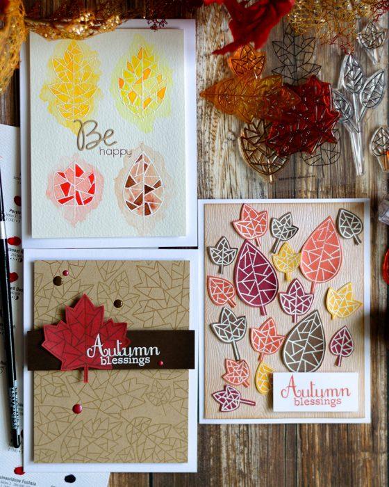 Simon Says Stamp STAMPtember Fractile Leaves. Cards by @craftwalks
