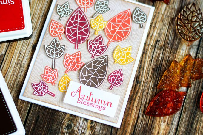 Colorful geometrical fall card with Simon Says Stamp Fractile Leaf Stamp Set. Card by @craftwalks