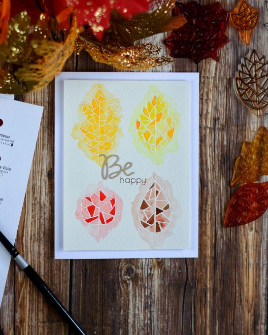 Messy watercolor looks very interesting with Simon Says Stamp Fractile Leaf Stamp Set. Card by @craftwalks