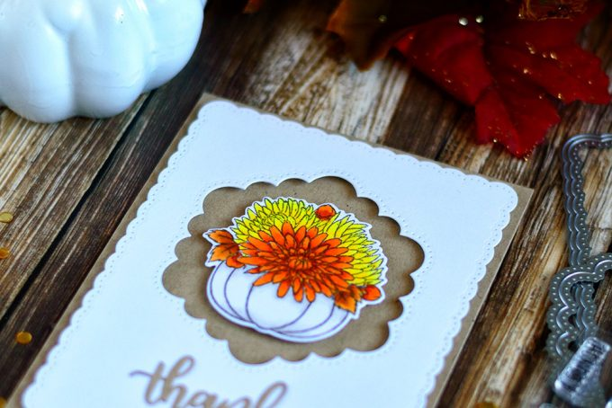 Simple and elegant Thanksgiving card with Studio Katia Giving Thanks Stamp Set. Card by @craftwalks