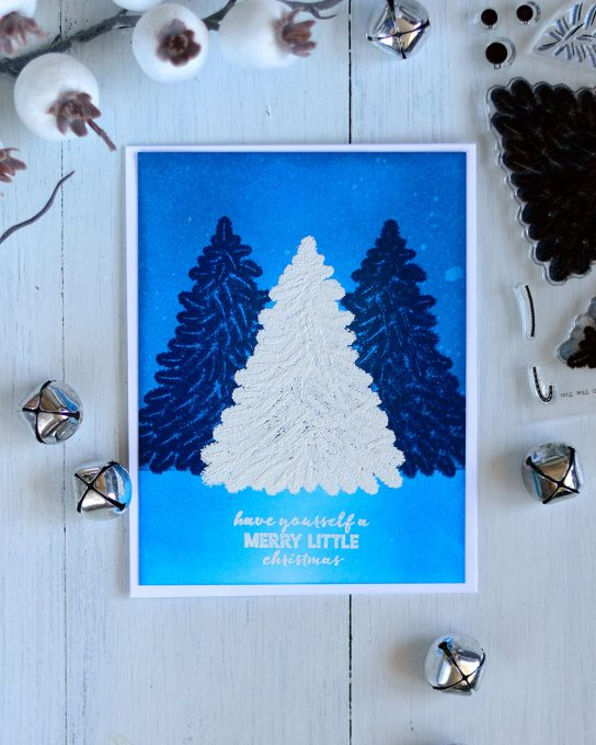 Pine trees forest night scene with The Ton Christmas Tree Stamp Set. Card by @craftwalks