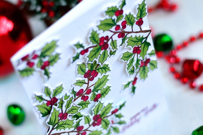 Classic and elegant Christmas card using The Ton Holly Branch Stamp Set. Card by @craftwalks