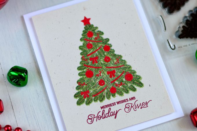 Classic Christmas card with a hint of vintage. Using The Ton Christmas Tree Stamp Set. Card by @craftwalks