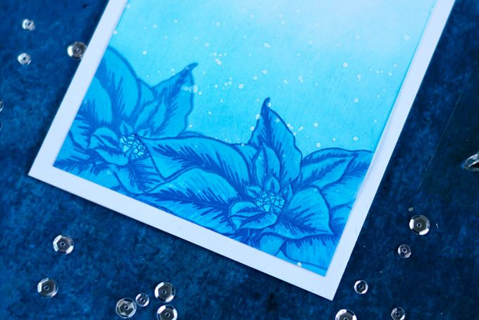 Blue monochromatic winter card with Altenew Build-A-Flower: Poinsettia. Card by @craftwalks