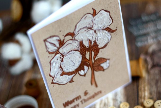 Make a comfy card using Cotton Comfort Stamp Set from Altenew and some flocking powder. Card by @craftwalks