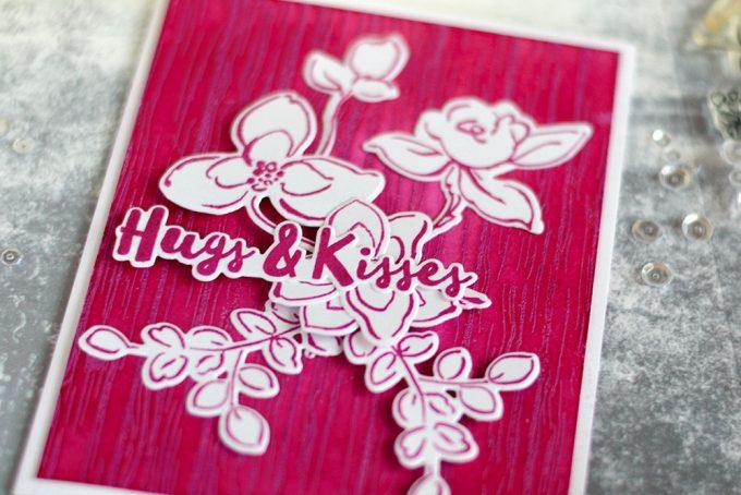 Monochromatic card using Altenew Razzleberry Embossing Powder. Card by @craftwalks