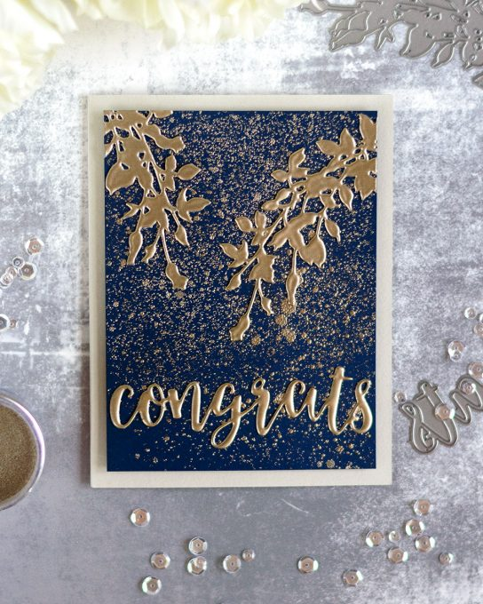Create a luxurious card with faux enamel embellishments using Altenew Platimun Embossing Powder. Card by @craftwalks