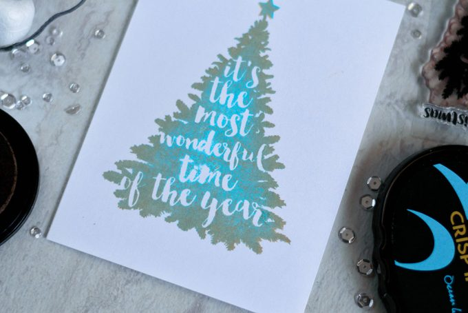 Multi color stamping with Altenew Night Before Christmas. Card by @craftwalks