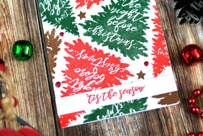 Stamp interesing holiday background using Altenew Night Before Christmas Stamp Set. Card by @craftwalks