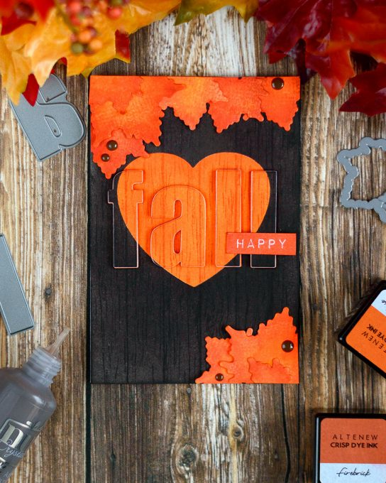Fall card with wooden background. Card by @craftwalks.