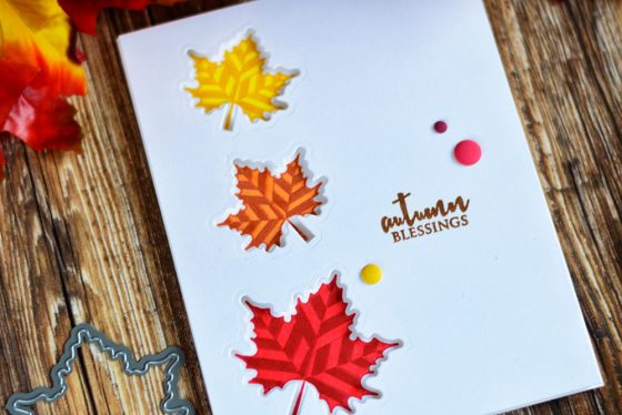 Simple fall card using negative die-cutting and Altenew With Gratitude. Card by @craftwalks