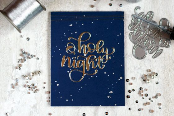 Simple holiday card using silver mirror cardstock and Simon Says Stamp O Holy Night Die. Card by @craftwalks