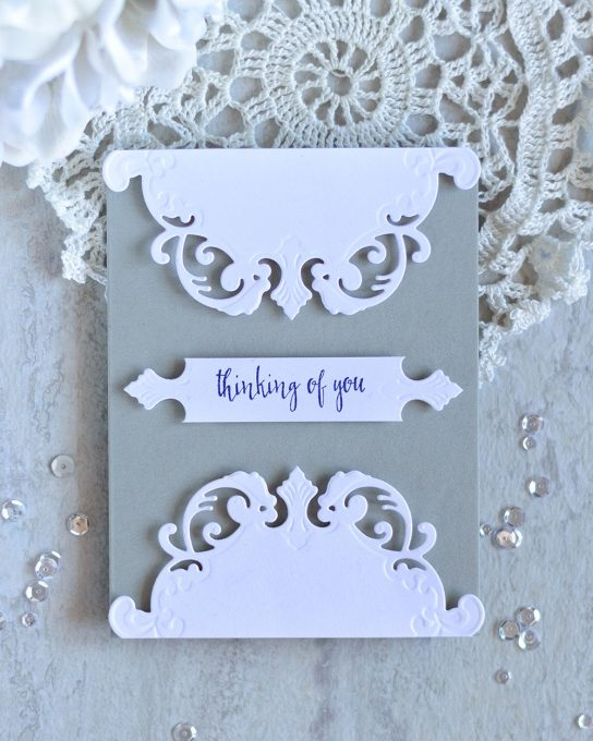 Clean and Elegant card with Spellbinders Shapeabilities Eau De Lavande Label Etched Dies. Card by @craftwalks