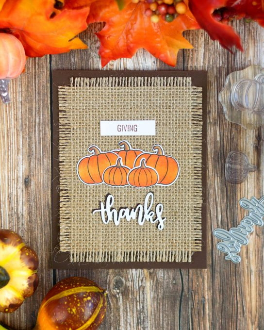 Using burlap in a card adds ssome interest to it. And especially it works great with Fall and Harvest theme. Card by @craftwalks. Using Studio Katia supplies
