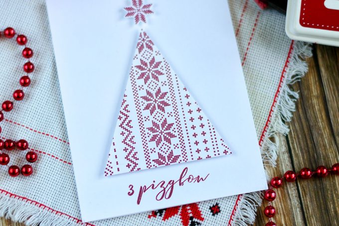 Ukrainian Christmas Card featuring embroidery Christmas tree for Simon Says Stamp World Cardmaking Day. Card by @craftwalks
