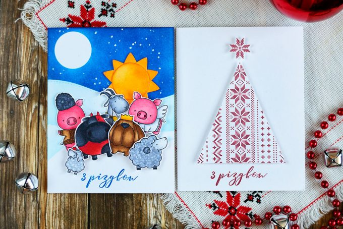 Two Ukrainian Christmas Cards for Simon Says Stamp World Cardmaking Day. Cards by @craftwalks