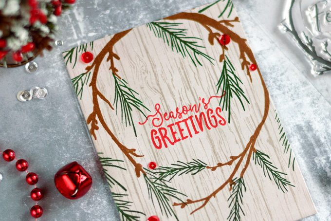 Woodland Rustic Christmas Card with Altenew Forever And A Day Stamp Set. Card by @craftwalks