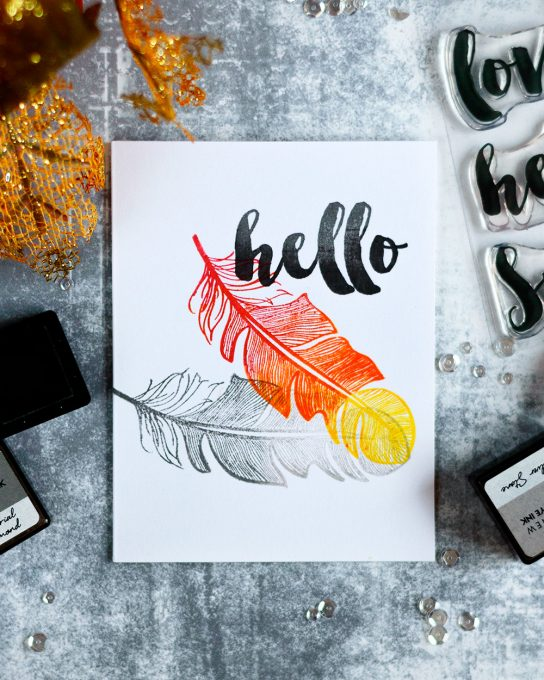 Clean and Simple card featuring multi color stamping. Witl Altenew Golden Feather. Card by @craftwalks