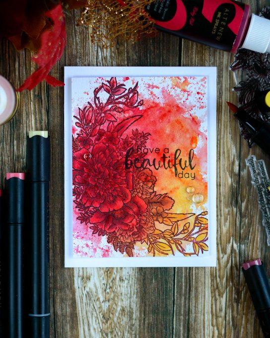 Ink smooshing background using Altenew metallic sprays and coloring over with Artist Markers. Card by @craftwalks