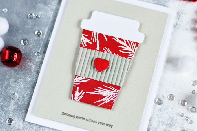 Simple and cozy holiday card featuring coffee cup. Stretch your dies by die-cutting a coffee cup lid using a tab die from Altenew Tabbed Die Set. All other parts of a cup a very easy to make and you don't need any other special dies. Card by @craftwalks