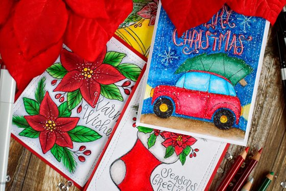Suzy's Christmas Watercolor Prints - 4 ways. Cards by @craftwalks
