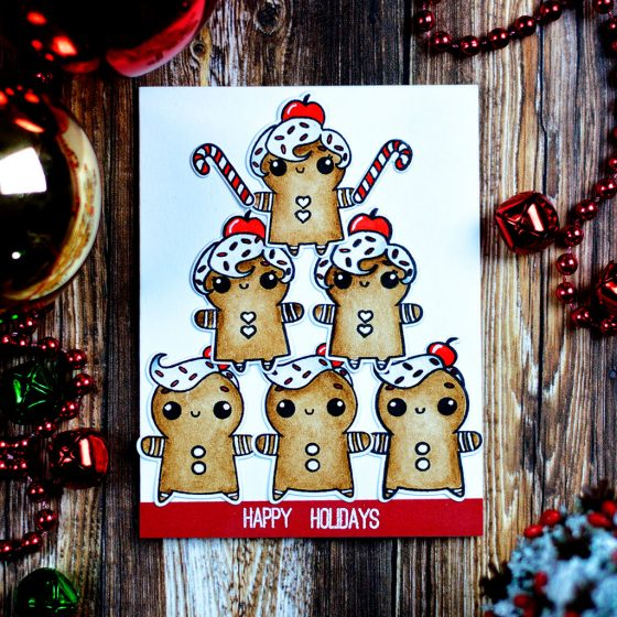 Fun and cheerful holiday card using adorable ginger cookies from Studio Katia Sweet Holiday Stamp Set. Card by @craftwalks