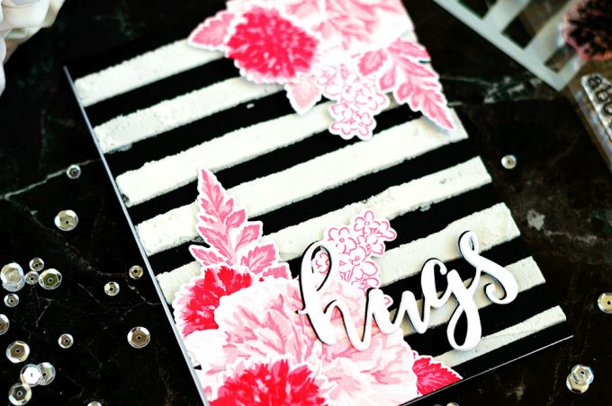 Pink Flowers Black and White Stripes. Card by @craftwalks