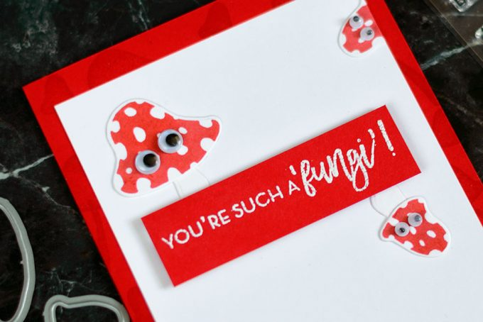 Cute and fun mushroom card using googly eyes and Altenew Love You So Mush Stamp Set. Card by @craftwalks