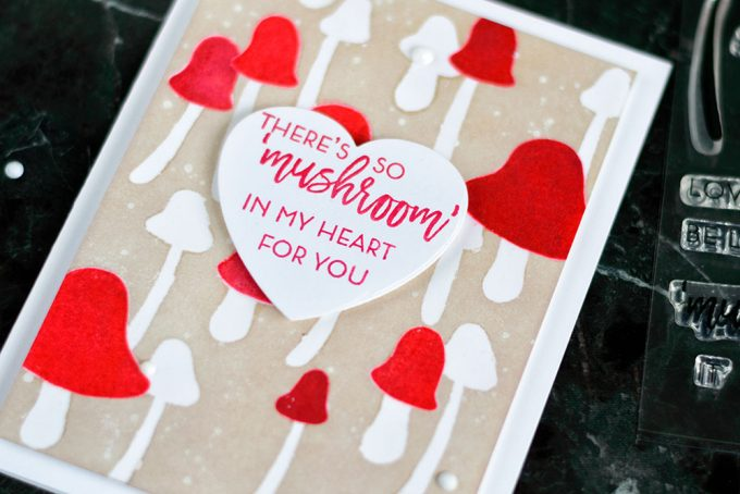 I have so mushroom in my heart for you. With Altenew Love You So Mush Stamp Set. Clear embossing resist background. Card by @craftwalks