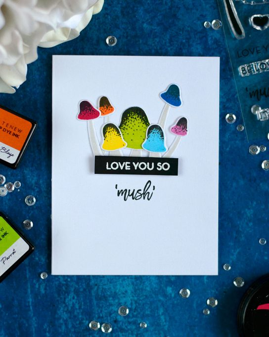Rainbow mushrooms with Altenew Love You So Mush Stamp Set. Card by @craftwalks