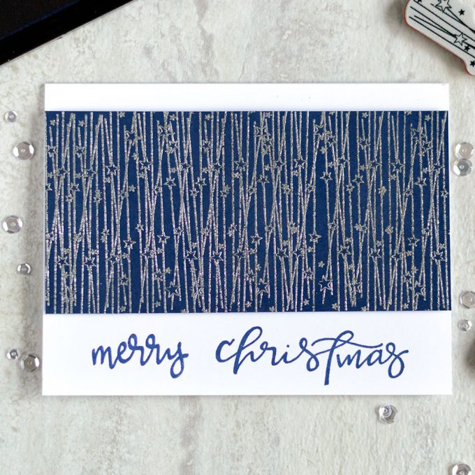 Monochromatic Christmas card. With Spellbinders Christmas Lights Stephanie Low. Card by @craftwalks.