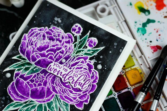 Pantone 2018 Ultraviolet with Studio Katia Blooming Bunch. Card by @craftwalks