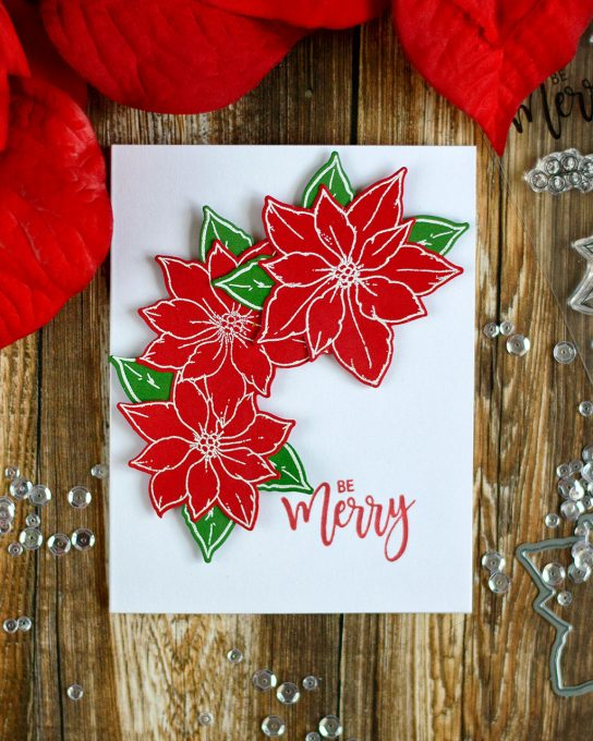 Quick last minute Christmas card with Studio Katia Merry Poinsettia. Card by @craftwalks