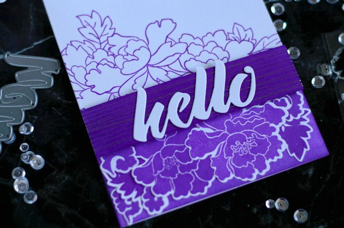 Monochromatic Ultraviolet with Altenew Lacy Scrolls and Peony Scrolls. Card by @craftwalks