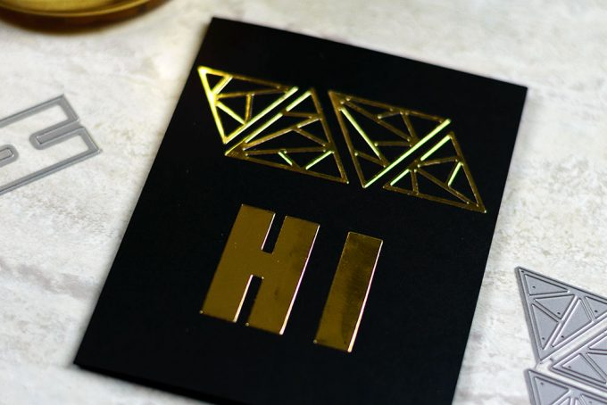 Shattered Triangle by Altenew. Gold on black. Card by @craftwalks