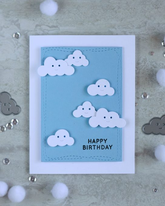 Simon Says Stamp Happy Clouds Die. Card by @craftwalks