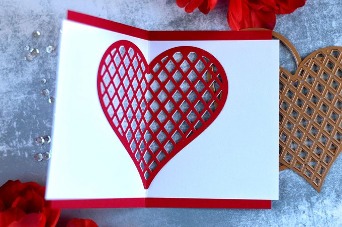 See through Valentine card with Spellbinders January Large Die Of the Month. Card by @craftwalks