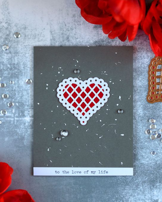 Valentine card featuring die-cut inlay, with Spellbinders January Large Die Of the Month. Card by @craftwalks