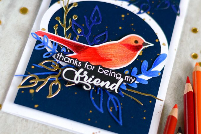 Blue and Gold bird card using Altenew Birds Of A Feather. Card by @craftwalks. #card #cardmaking #altenew #birdcard