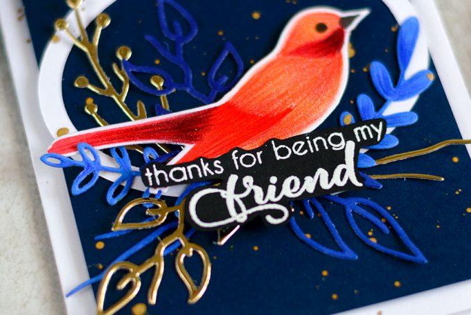 Blue and Gold bird card using Altenew Birds Of A Feather. Card by @craftwalks. #card #cardmaking #altenew #birdcard