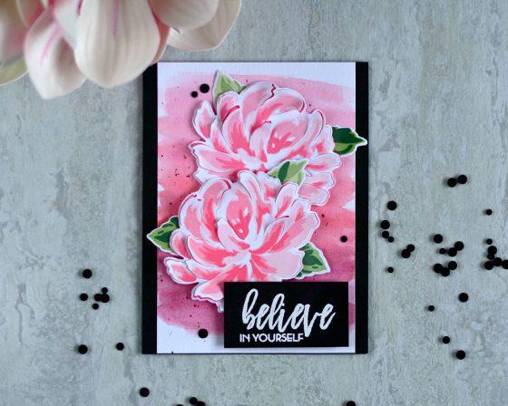 Altenew Build-A-Flower: Chrysanthemums. Watercolor background, 3D flower. Card by @craftwalks. #card #cardmaking #altenew #altenewbaf