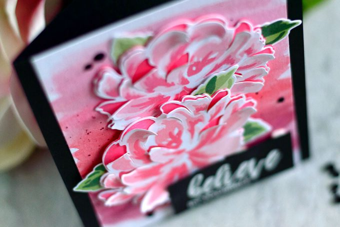 Altenew Build-A-Flower: Chrysanthemums. Watercolor background, 3D flower. Card by @craftwalks. #card #cardmaking #altenew #altenewbaf