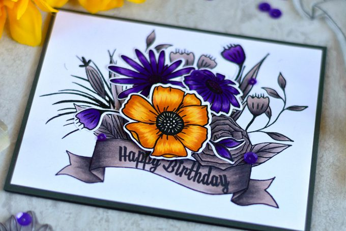 Altenew Happy Bloom. Spotlight coloring with Artist Markers. Card by @craftwalks. #altenew #card #cardmaking #handmade